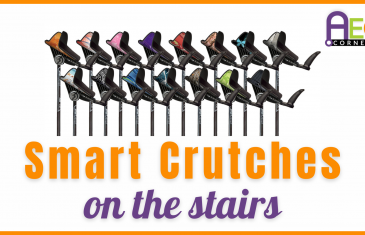 smart crutches on the stairs